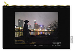 Austin Hike And Bike Trail - Iconic Austin Statue Stevie Ray Vaughn - One Greeting Card Poster Carry-all Pouch