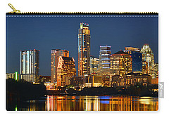 Austin Skyline At Night Color Panorama Texas Carry-all Pouch