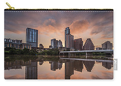 Carry-all Pouch featuring the photograph Austin Skyline Sunrise Reflection by Todd Aaron