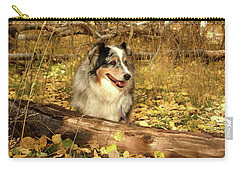 Austrailian Shepherd In Autumn Leaves Carry-all Pouch