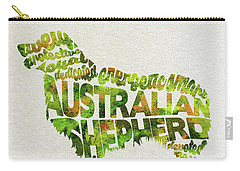 Carry-all Pouch featuring the painting Australian Shepherd Dog Watercolor Painting / Typographic Art by Ayse and Deniz