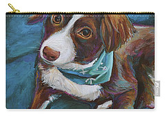 Carry-all Pouch featuring the painting Australian Shepherd Puppy by Robert Phelps