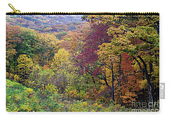 Carry-all Pouch featuring the photograph Autumn Arrives In Brown County - D010020 by Daniel Dempster