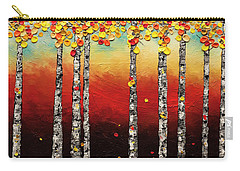 Carry-all Pouch featuring the painting Autumn Birch Trees by Carmen Guedez