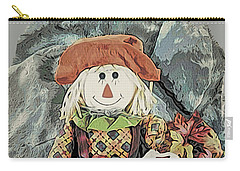 Carry-all Pouch featuring the digital art Autumn Country Scarecrow by Kathy Kelly