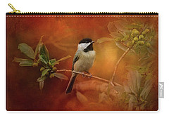 Autumn Day Chickadee Bird Art Carry-all Pouch by Jai Johnson