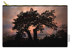 Carry-all Pouch featuring the photograph Autumn Evening Sunset Silhouette by Chris Lord