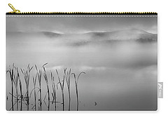 Carry-all Pouch featuring the photograph Autumn Fog Black And White Square by Bill Wakeley