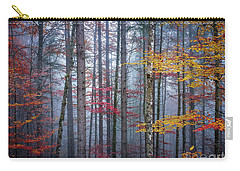 Carry-all Pouch featuring the photograph Autumn Forest In Fog by Elena Elisseeva