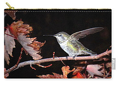 Carry-all Pouch featuring the photograph Autumn Hummer by Joyce Dickens