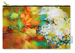 Autumn Hydrangea In Gold Carry-all Pouch