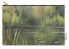 Carry-all Pouch featuring the mixed media Autumn In The Park by Angela Stout