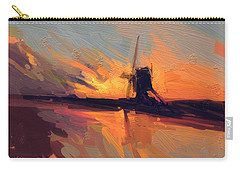 Carry-all Pouch featuring the painting Autumn Indian Summer Windmill Holland by Nop Briex