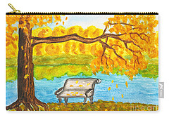 Autumn Landscape With Tree And Bench, Painting Carry-all Pouch