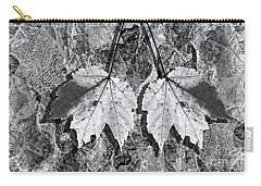 Autumn Leaf Abstract In Black And White Carry-all Pouch