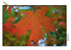 Autumn Leaf In The Rain Carry-all Pouch