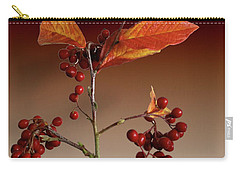 Carry-all Pouch featuring the photograph Autumn Leafs And Red Berries by David French
