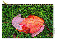 Autumn Leaves On Lawn Carry-all Pouch