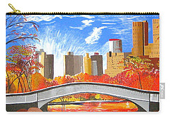Carry-all Pouch featuring the painting Autumn Oasis by Donna Blossom