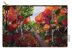 Carry-all Pouch featuring the painting Autumn Path by Sonya Nancy Capling-Bacle
