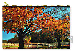Carry-all Pouch featuring the photograph Autumn Rows by Joan  Minchak