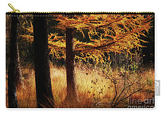 Autumn Scene In A Dark Forest Carry-all Pouch by Nick Biemans