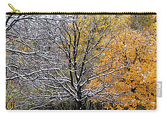 Carry-all Pouch featuring the photograph Autumn Snow by Doris Potter