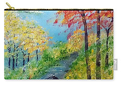 Carry-all Pouch featuring the painting Autumn Stream by Sonya Nancy Capling-Bacle