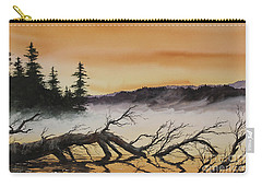 Carry-all Pouch featuring the painting Autumn Sunset Mist by James Williamson