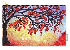 Carry-all Pouch featuring the painting Autumn Tree by Sonya Nancy Capling-Bacle