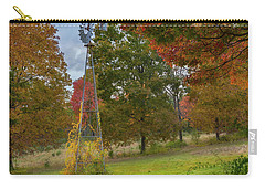 Carry-all Pouch featuring the photograph Autumn Windmill Square by Bill Wakeley