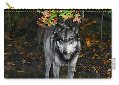 Carry-all Pouch featuring the photograph Autumn Wolf by Shari Jardina