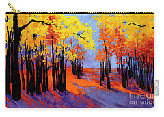 Autumnal Landscape Painting, Forest Trees At Sunset Carry-all Pouch