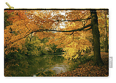 Carry-all Pouch featuring the photograph Autumn's Golden Tones by Jessica Jenney
