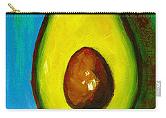 Avocado, Modern Art, Kitchen Decor, Blue Green Background Carry-all Pouch