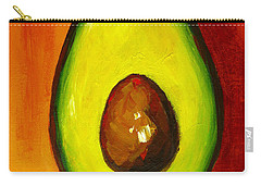 Avocado Modern Art, Kitchen Decor, Orange And Red Background Carry-all Pouch