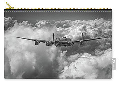 Carry-all Pouch featuring the photograph Avro Lancaster Above Clouds Bw Version by Gary Eason