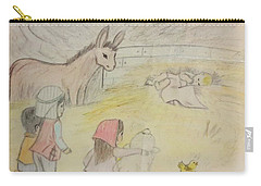 Away In A Manger With Child Shepherds Carry-all Pouch by Christy Saunders Church