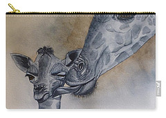 Carry-all Pouch featuring the painting Baby And Mother Giraffe by Kelly Mills