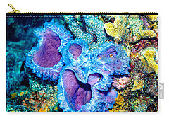 Carry-all Pouch featuring the photograph Azure Vase Sponges by Perla Copernik