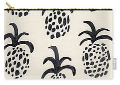 B And W Pineapple Print Carry-all Pouch by Anne Seay