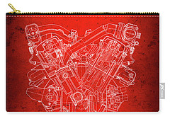 B M W  850csi  E31  V12 Engine Redprint Carry-all Pouch by Daniel Hagerman