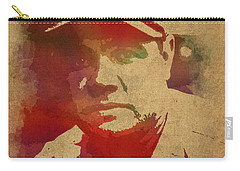 Babe Ruth Baseball Player New York Yankees Vintage Watercolor Portrait On Worn Canvas Carry-all Pouch by Design Turnpike