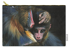 Carry-all Pouch featuring the painting Baboon Mother And Baby by David Stribbling