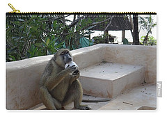 Baboon With A Sweet Tooth Carry-all Pouch by Exploramum Exploramum