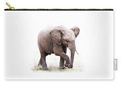 Baby African Elephant Isolated On White Carry-all Pouch