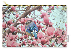 Baby Blue Jay In Magnolia Blossoms  Carry-all Pouch by Janette Boyd