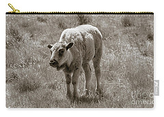 Carry-all Pouch featuring the photograph Baby Buffalo In Field With Sky by Rebecca Margraf