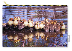 Baby Ducks On A Log Carry-all Pouch by Stephanie Hayes