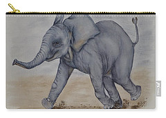 Carry-all Pouch featuring the painting Baby Elephant Run by Kelly Mills